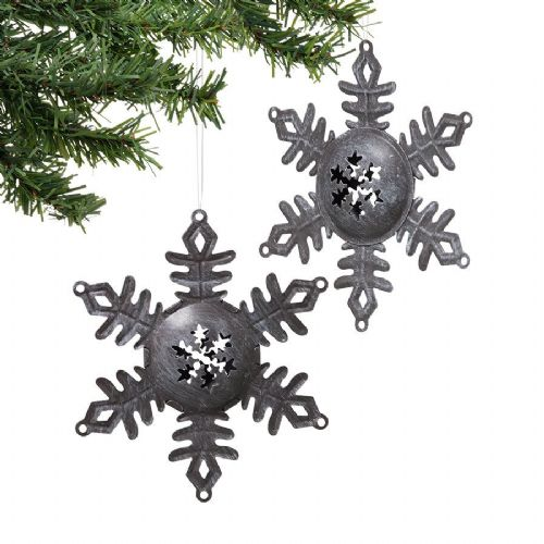 Jingle Bell Snowflake Ornaments Set of 2